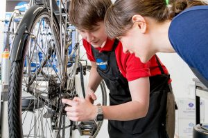 Bike maintenance course participant