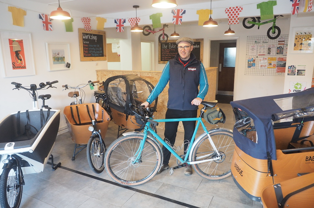 General Manager, Mark Searle, in Outspoken Cycles' shop